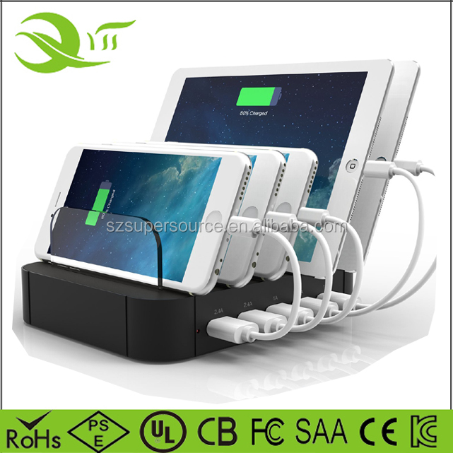 Charging dock 5 Port 30w 6a desktop stand charging docking station for iPhone 5 5s 6 6s 7 8