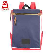 China factory yellow zipper latest school bags for teens, snap button big flap simple new fashion college school canvas backpack