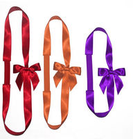 Customized Gift Wrapping Polyester Satin Elastic Ribbon Bow with band