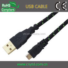 Cotton Braid Nylon Braided fabric textile micro usb cable