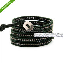 Handmade 5 Wraps Gold Plated Nuggets Beads Leather Wrap Bracelet Woven LU1/leather bracelet/woven wristband