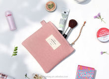 100% Cotton women's toiletry small cosmetic pouch canvas makeup bag