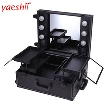 Yaeshii 2019 New Arrival Aluminum portable Makeup case with Lights and big mirror Beauty Case