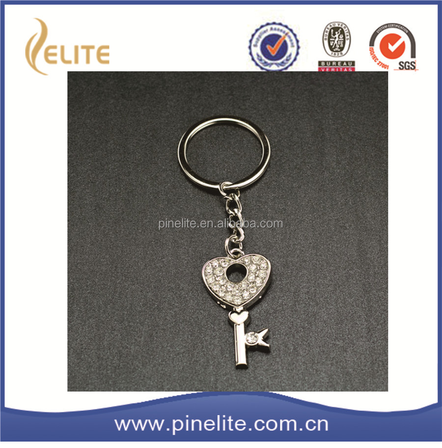promotional gifts key shaped keychain,nickel plating key chain metal