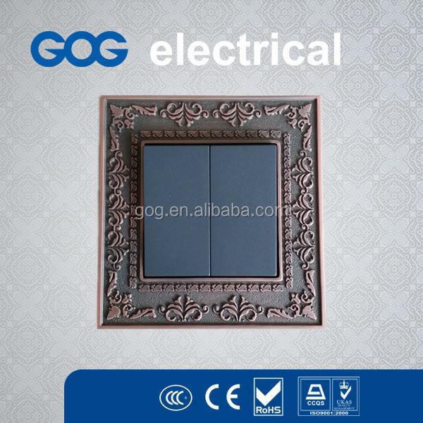 zinc alloy metal plate 2 gang electrical switch