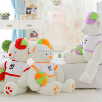 2015 new design stuffed plush teddy bear with T-shirts and hat soft toy
