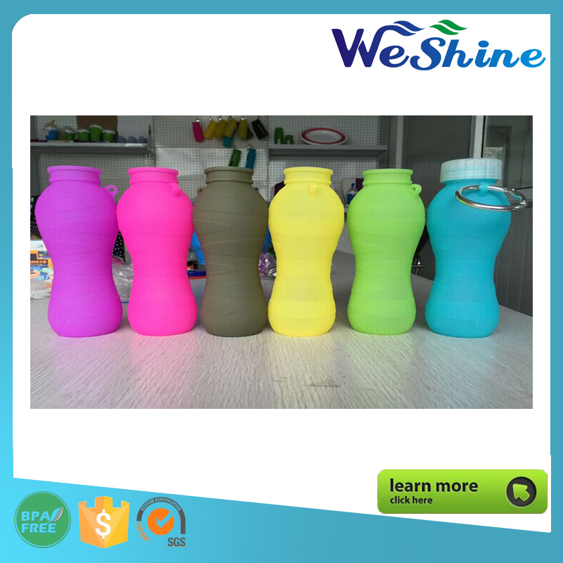Custom Wholesale Bpa Free Silicone Multi-Use collapsible Sport water bottle, Travel Bottle High Quality