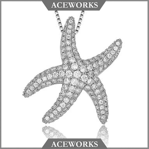 Korean Cubic Zirconia Jewelry 925 Micro Zircon Paved Starfish Sterling Silver Pendant