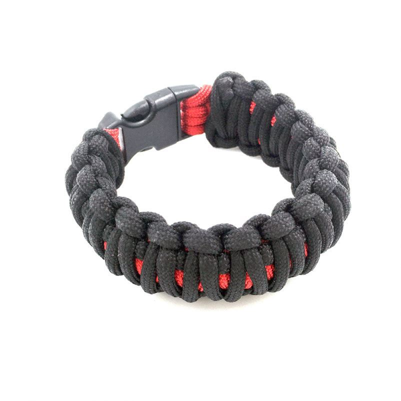 New 5 in 1 Multifunctional Paracord Bracelet with Compass Flint Fire Starter Scraper Whistle- 6 Pack