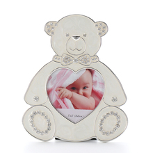 Lovely Teddy bear shape enamel heart-shaped metal picture photo frame