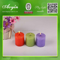 100% Paraffin Wax colorful Pillar Candles for decration