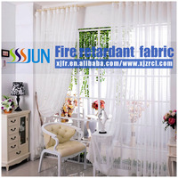 Fire Retardant 100% Polyester Yarn Dyed Crushed Bright Sheer Curtain