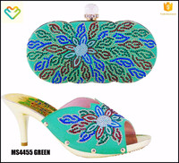 MS4455 GREEN Hot African woman matching italian shoe and bag set for wedding
