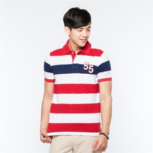 Young Striped uniform colorful designs polo t-shirts 100% cotton