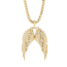 Stainless Steel Metal Rhinestone Angel Wings Pendants Necklaces With Long Chain For Men
