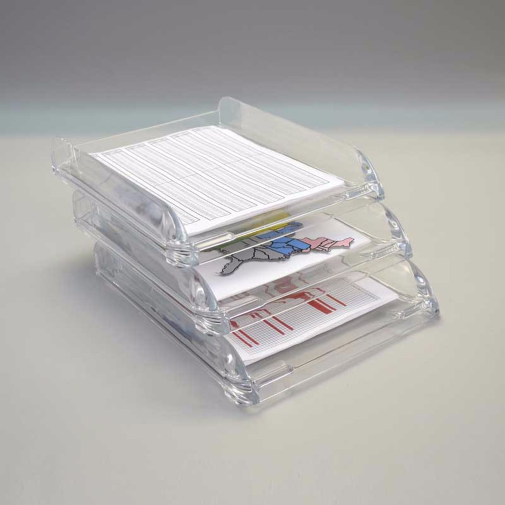 Deluxe Practical Acrylic Double Letter Tray Clear Desk Organizer Office File Paper Holder display stand with 2 tier