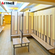 Amywell high density waterproof changing room phenolic HPL compact locker with bench