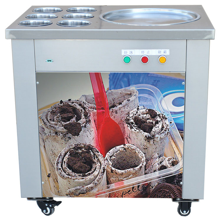 China Factory Supply Commercial Fried Ice Cream Machine/ Fried Ice Cream Roll Machine/ Single Flat Pan Fry Ice Cream