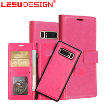 LEEU DESIGN business 3 pockets pu leather wallet flip cover case for samsung note 8