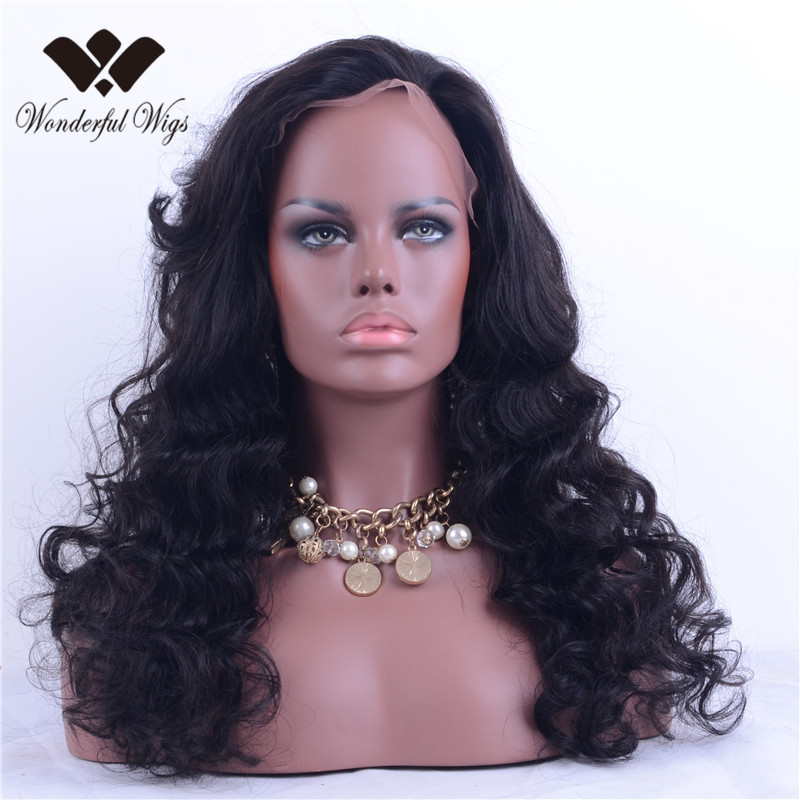 2016 Hot Sale Top Grade Brazilian Virgin Human Hair Lace Front Wig Loose Wave Glueless Customized Lace Front Wigs