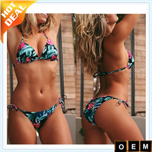Digital Custom Print Sexy Floral Print Push Up G-String Bikini Set