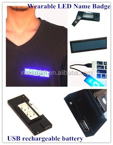 Programed 8 PCS of messages USB rechargeable battery blue light LED scrolling message badge