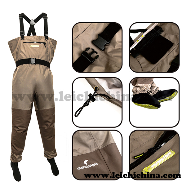 top grade five-layer material breathable waterproof fishing waders