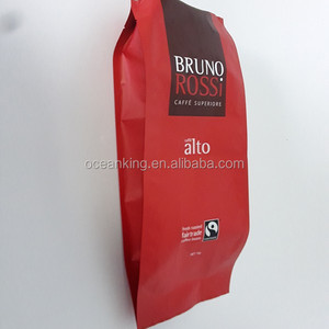 food grade wholesale manufacture non pre folded square base tack seal aluminum foil coffee packaging pouch with valve