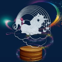 3D Lamp Rainbow Unicorn Lamp Color Changing Baby Night Light For Kid LED Magical Horse Night Lamp Home Decor Wooden Base