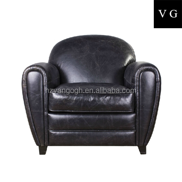 Vintage industrial furniture round leather single sofa couch