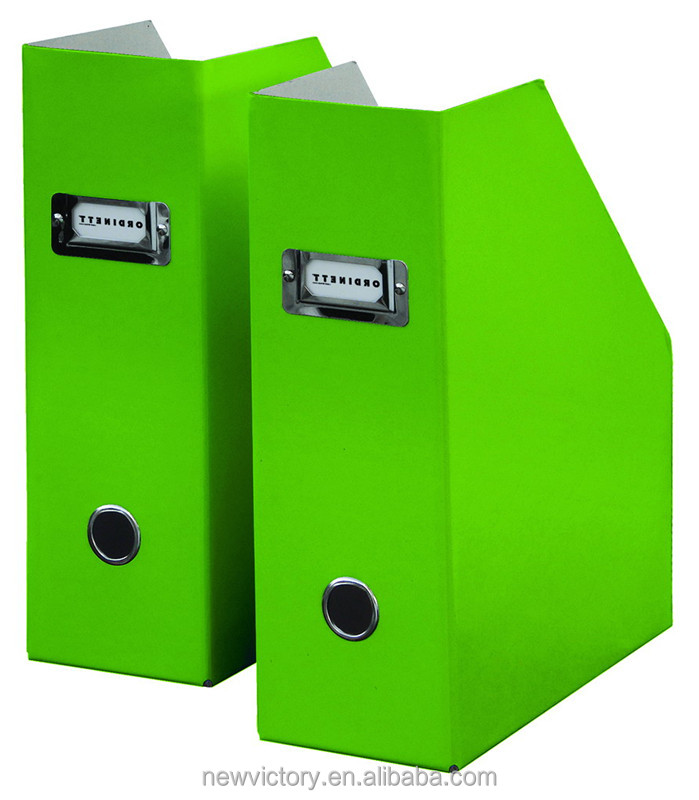 Metal corner foldable green cardboard file holder