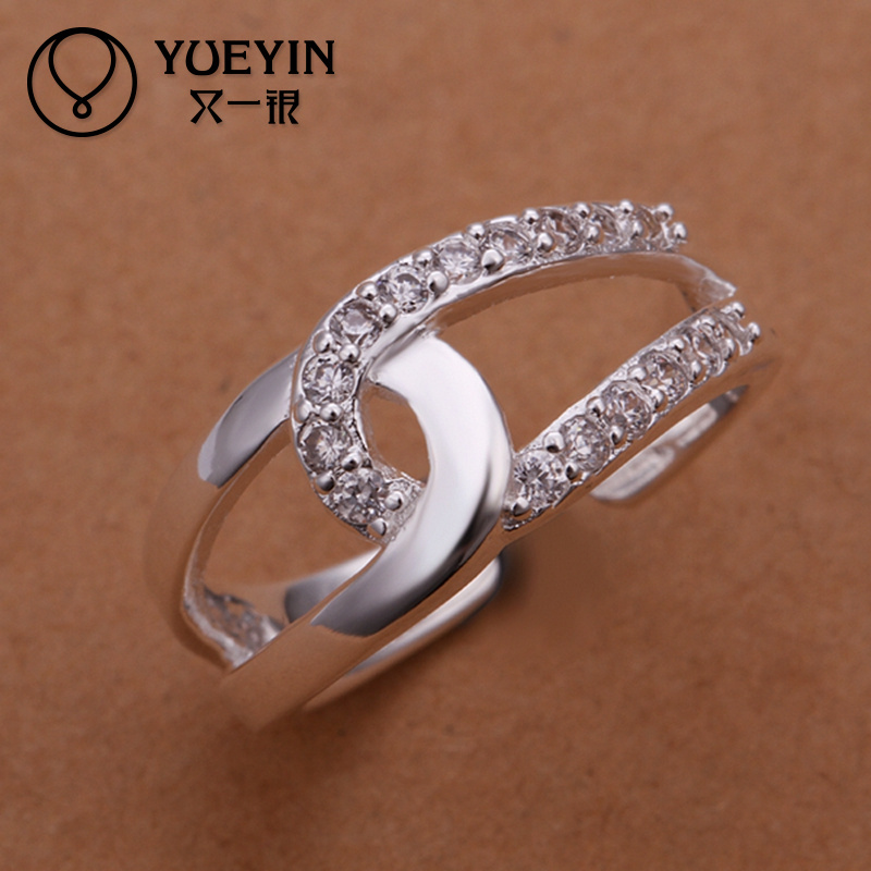 Attractive Inlaid stone Rome fashion 925 silver jewelry ring