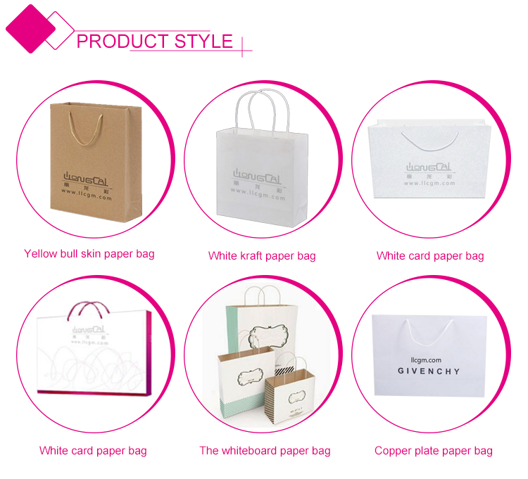 Custom print logo biodegradable kraft brown paper bag with handle