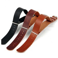 20mm strap with strong stainless buckle hot sale genuine leather watch strap
