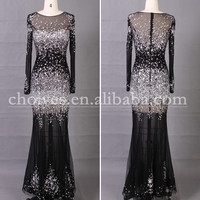 AA51212 Long Sleeve Crystal Stone Black Frocks Design For Girl