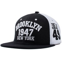 USA Brooklyn Snapback cap for men white black color with 3d 49 embroidery hip hop hat (SU-HPS099)