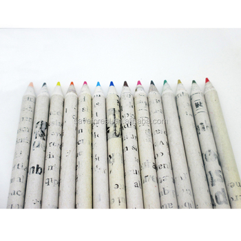 Newspaper Design Artist color pencil of 9pcs pencil set with Eco recycle paper material