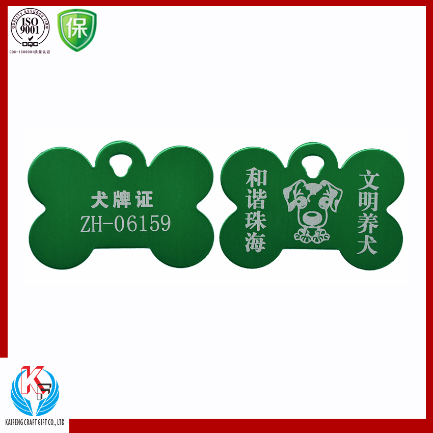 Green printed letter metal dog tag for pet dog