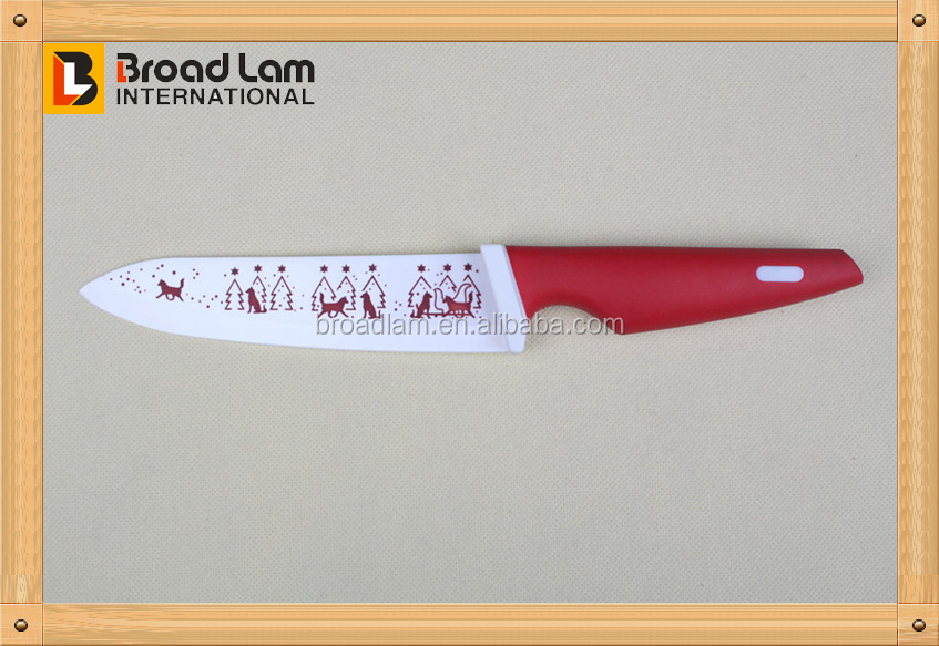 (NEW) Beautiful Design Christmas Decoration Blade Ceramic Kitchen Tool 6 inch Knife