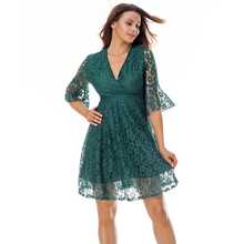 Hot Night V Neck Green Pagoda Sleeve Lace Muslim Long Women Dress Sexy