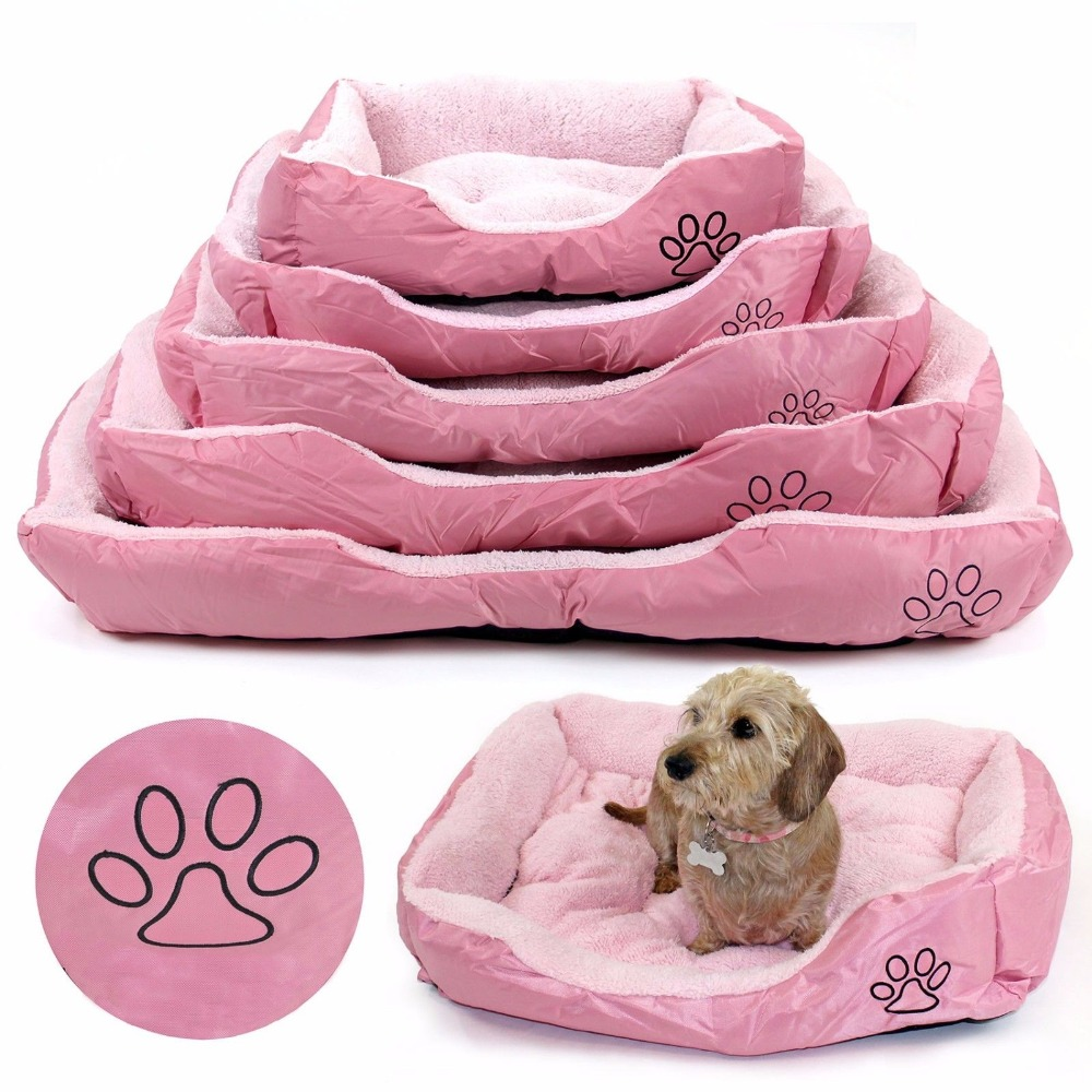 Dog Bed Pink Pet Bed Cat Puppy Faux Fur Bed