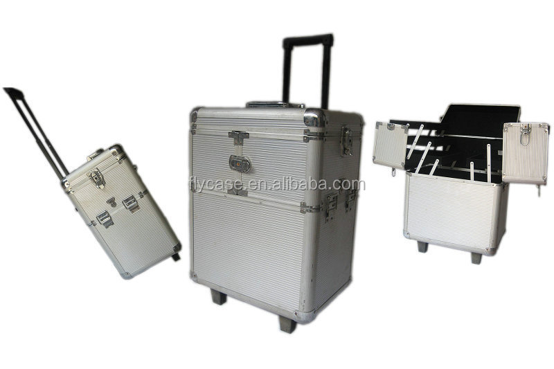 Professional beauty case trolley in aluminum frame makeup case with wheels