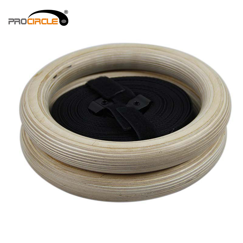 Nylon Strap Crossfit Wooden Training Gymnastic Rings