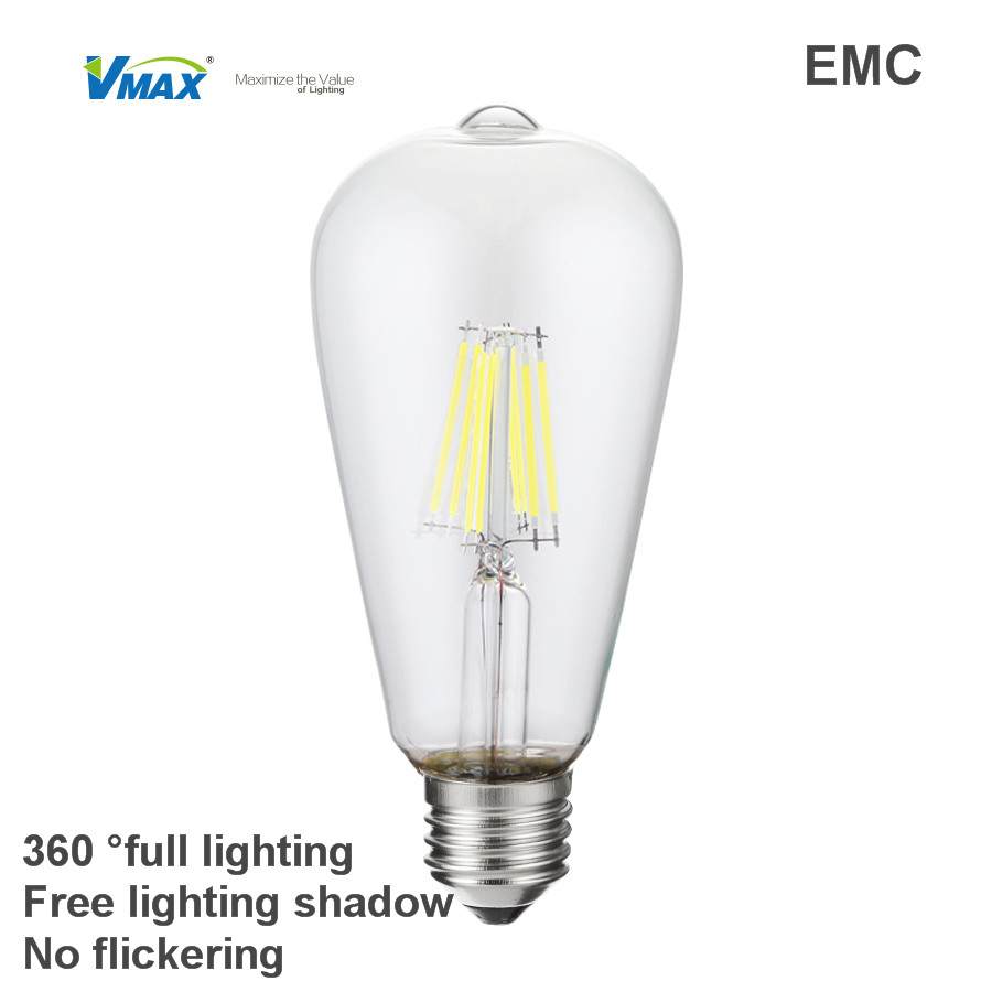 High Quality E27 Led Filament Bulb Light &ST64 Amber Color 4W/6W/8W led light bulb