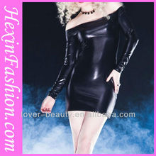 Wholesale Long Sleeve Sexy Leather Dress