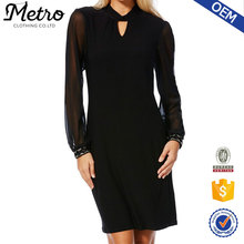 Black lucency Long Sleeve women dress ,chiffon casual dress