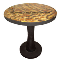 Eco friendly traditionally handpainted vietnamese black lacquered wooden home furnishing products with brown buffalo horn inlay