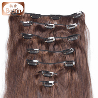 Hot sell 6a 7a 8a grade Brazilian human hair extension 100g light brown color 3# clip in hair extension for black women