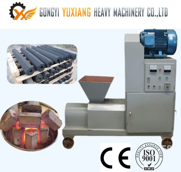 Compressed Wood logs Jute sticks charcoal briquette extruder machine