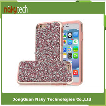 Wholesale Shockproof Dirtproof Durable Hybrid Rubber 2in1 bling glitter for Phone Case For iPhone 7/6